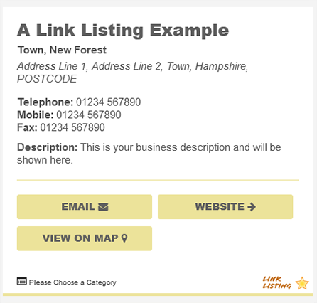 New Forest Online Link listing example