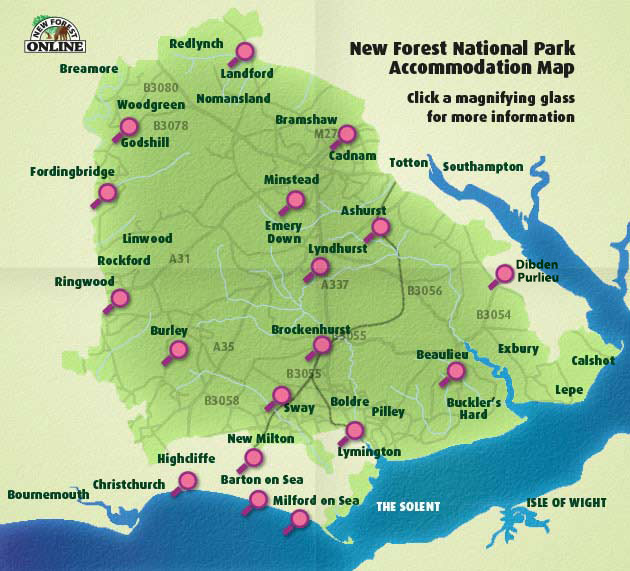 Search the New Forest Accommodation map