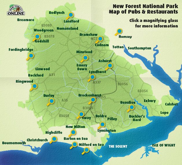 New Forest Pubs and Restaurants Map