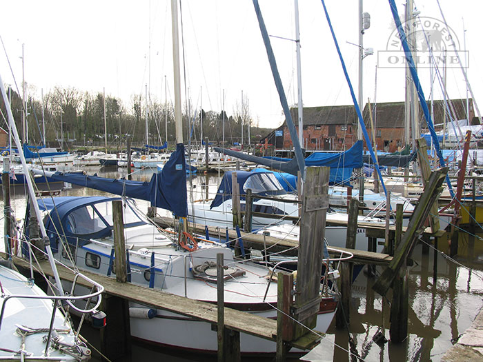 Moorings at Eling Tide Mill on the River Test, near Totton