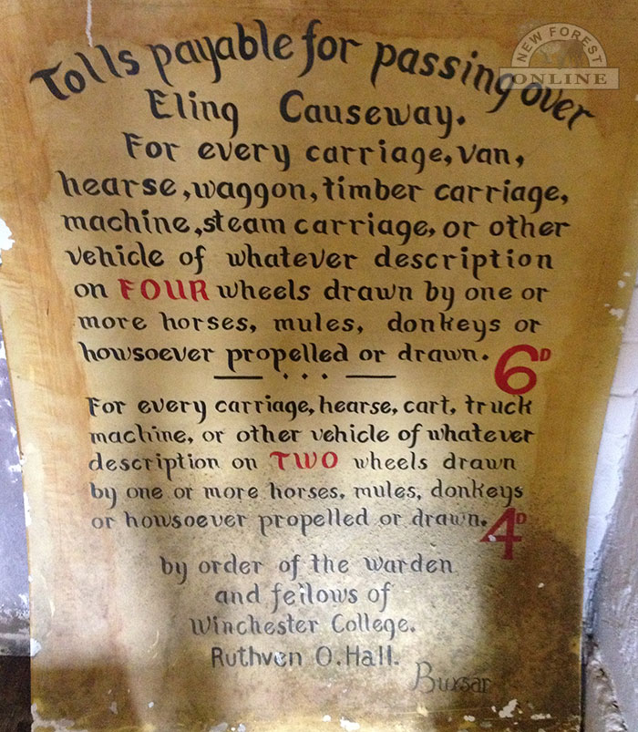 An old toll bridge sign at Eling Tide Mill