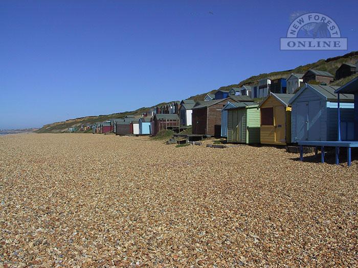 Beach huts on Milford on Sea beach